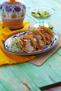 Chicken Tacos with Chile Sauce