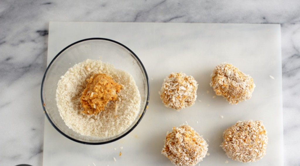 Nutra Ease Sweet Potato balls covered in Panko