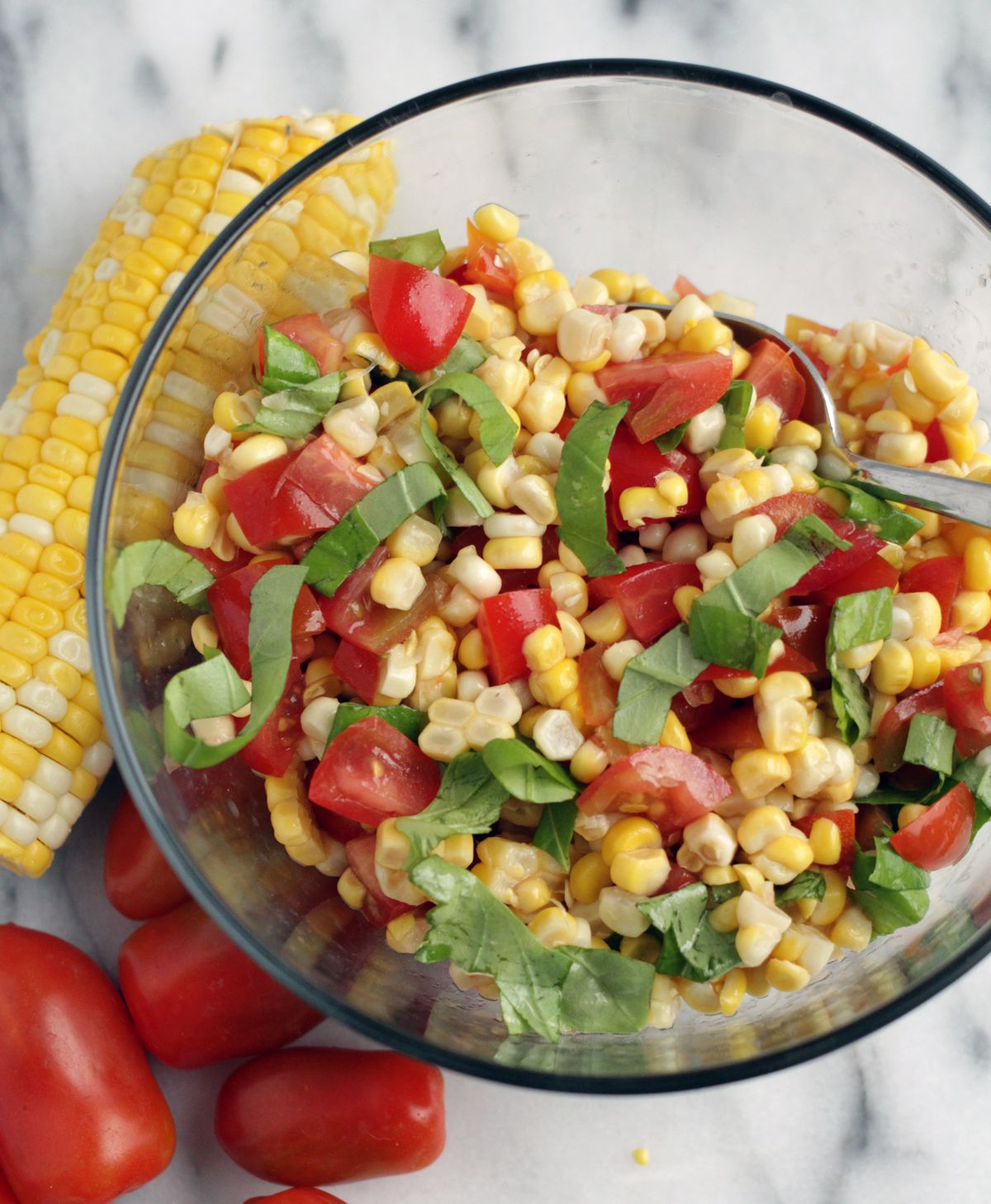 Corn and Tomato salad with Balsamic Glaze