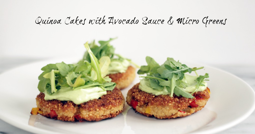 Nutra Ease Quinoa Cakes with Avocado Sauce & Micro Greens